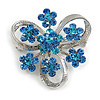 3 Petal Light Blue Crystal Flower Brooch In Rhodium Plating - 40mm Across