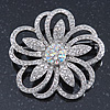 Statement Clear & AB Austrian Crystal Flower Brooch In Rhodium Plating - 40mm Diameter