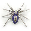Stunning Crystal, Purple Enamel 'Spider' Brooch In Rhodium Plating - 55mm W