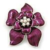 Deep Purple Enamel Layered Flower Brooch In Silver Tone - 60mm L