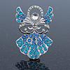 Light Blue Crystal Angel Brooch In Rhodium Plating - 45mm L