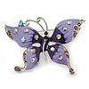 Purple & Violet Enamel Crystal Butterfly Brooch In Rhodium Plating - 55mm W