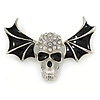Black Enamel, Clear Crystal Skull with Bat Wings Brooch In Silver Tone - 65mm Across
