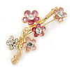 Crystal, Pink Enamel Magnolia Floral Brooch In Gold Tone - 65mm L
