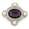 'Old Hollywood' White Simulated Pearl, Clear, Amethyst Crystal Oval Brooch In Rhodium Plating - 50mm Across