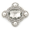 'Old Hollywood' White Simulated Pearl, Clear Crystal Oval Brooch In Rhodium Plating - 50mm Across