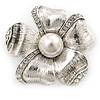 Vintage Inspired Textured, Crystal, Pearl Flower Brooch In Silver Tone - 45mm Diameter