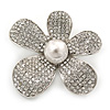 Clear Austrian Crystal, Pearl Asymmetrical Flower Brooch In Rhodium Plating - 50mm Across