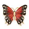 Oversized Red/ Dark Brown Enamel Butterfly Brooch In Gold Plating - 80mm Across