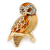 Brown Enamel Austrian Crystal Owl Brooch In Gold Plating - 40mm L