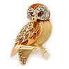 Brown Enamel Austrian Crystal Owl Brooch In Gold Plating - 40mm L