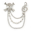 Clear Crystal Treble Clef and Skull & Crossbones, Pearl Beaded Chain Brooch In Rhodium Plating
