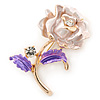 Romantic Pink/ Purple Crystal Rose Flower Brooch In Gold Plating - 52mm L