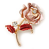 Romantic Pink/ Coral Crystal Rose Flower Brooch In Gold Plating - 52mm L