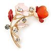 Pink/ Coral Crystal Calla Lily With Cat's Eye Stone Floral Brooch In Gold Tone - 48mm L