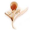 Magnolia/ Bronze Enamel Cat's Eye Stone Flower Brooch In Gold Tone - 50mm L