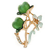 Mint Enamel, Crystal With Green Glass Stones Floral Brooch In Gold Plating - 45mm L