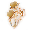 Magnolia Enamel, Crystal With Nude Glass Stones Floral Brooch In Gold Plating - 45mm L
