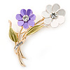 Purple/ White/ Olive Two Daisy Floral Brooch - 50mm L