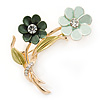 Mint/ Dark Green/ Olive Two Daisy Floral Brooch - 50mm L