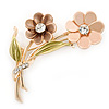 Magnolia/ Bronze/ Olive Two Daisy Floral Brooch - 50mm L