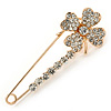 Clear Crystal Clover Safety Pin In Gold Tone - 55mm L
