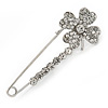 Clear Crystal Clover Safety Pin Brooch In Silver Tone - 55mm L