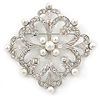 'Old Hollywood' White Simulated Pearl, Clear Crystal Square Brooch In Rhodium Plating - 63mm Across