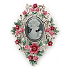 Pink/ Green Floral Cameo Brooch In Silver Tone - 70mm L