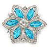 Cyan Blue/ Clear Glass Crystal Flower Brooch In Rhodium Plating - 53mm Across