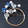 Blue/ Pale Blue Flower, Pearl Wreath Brooch In Gold Tone -70mm Across