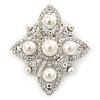 Bridal Austrian Crystal Imitation Pearl Brooch In Rhodium Plating - 63mm L