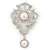 Bridal/ Wedding/ Prom Austrian Crystal, Imitation Pearl Charm Brooch In Rhodium Plating - 80mm L