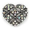Marcasite AB Crystal Heart Brooch - 40mm L