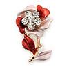 Pink/ Coral Enamel, Crystal Flower Brooch In Gold Tone - 30mm