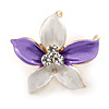 Small Purple/ Pale Lilac Enamel, Clear Crystal Flower Brooch In Gold Tone - 27mm