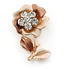 Bronze/ Magnolia Enamel, Crystal Flower Brooch In Gold Tone - 30mm