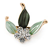 Small Dark Green/ Mint Enamel, Crystal Leaf Pin Brooch In Gold Tone - 25mm
