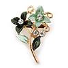 Small Mint/ Dark Green Double Flower Enamel, Crystal Pin Brooch In Gold Tone - 30mm L