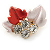 Small Coral/ Pink Enamel, Crystal Leaf Pin Brooch In Gold Tone - 25mm