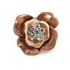 Magnolia/ Bronze Enamel, Crystal Rose Pin Brooch In Gold Tone - 25mm