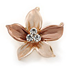 Small Magnolia/ Bronze Enamel, Clear Crystal Flower Brooch In Gold Tone - 27mm