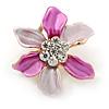 Small Fuchsia/ Pink Enamel, Clear Crystal Flower Brooch In Gold Tone - 27mm