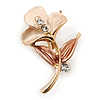 Small Magnolia/ Bronze Enamel, Crystal Calla Lily Brooch In Gold Plating - 32mm L