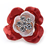 Coral/ Pink Enamel, Crystal Rose Pin Brooch In Gold Tone - 25mm