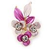 Pink/ Fuchsia Triple Flower Crystal Floral Brooch In Gold Tone Metal - 30mm L