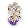 Purple Enamel, Crystal Floral Pin Brooch In Gold Tone - 25mm L