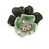 Mint/ Dark Green Crystal Blossom Pin Brooch In Gold Tone Metal - 20mm