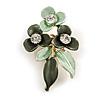 Dark Green/ Mint Triple Flower Crystal Floral Brooch In Gold Tone Metal - 30mm L