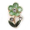 Mint/ Dark Green Enamel, Crystal Floral Pin Brooch In Gold Tone - 25mm L